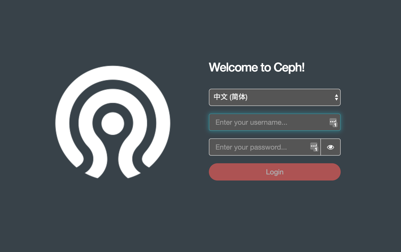 ceph dashboard login